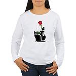Black Cat and Rose Women's Long Sleeve T-Shirt