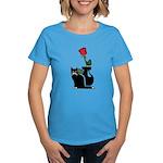 Black Cat and Rose Women's Dark T-Shirt