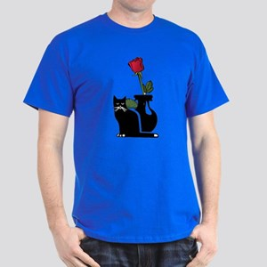 Black Cat and Rose Dark T-Shirt