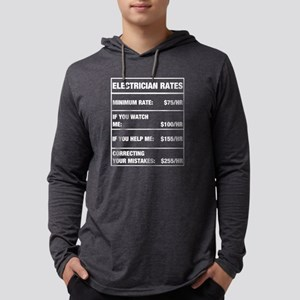 Funny Electrician Rates Chart Long Sleeve T-Shirt