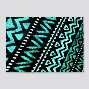 teal african tribal pattern 5'x7'Area Rug