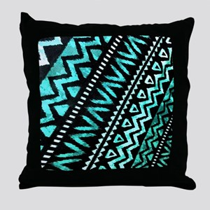 teal african tribal pattern Throw Pillow