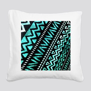 teal african tribal pattern Square Canvas Pillow