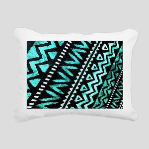 teal african tribal patt Rectangular Canvas Pillow