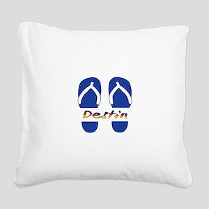 Destin Florida Flip Flops Square Canvas Pillow