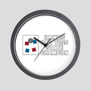 Illinois Bag Toss State Champ Wall Clock