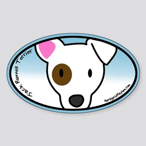 Anime Jack Russell Oval Sticker