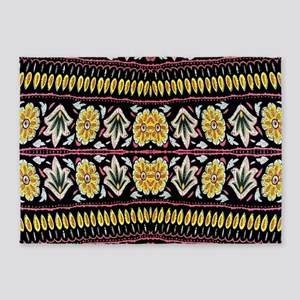 yellow floral tribal pattern 5'x7'Area Rug