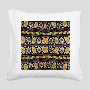 yellow floral tribal pattern Square Canvas Pillow