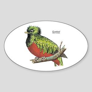 Quetzal Rain Forest Bird Oval Sticker