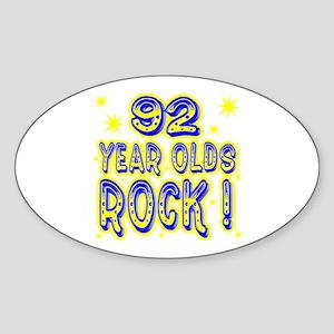 92 Year Olds Rock ! Oval Sticker