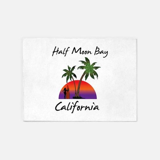 Half Moon Bay California 5'x7'Area Rug