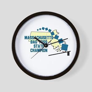 Massachusetts Bag Toss State Wall Clock