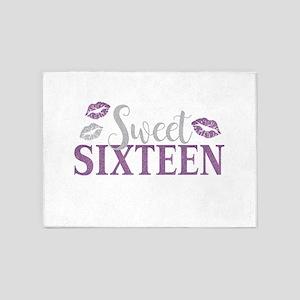 Sweet Sixteen 16 Birthday Glitter L 5'x7'Area Rug
