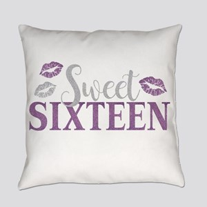 Sweet Sixteen 16 Birthday Glitter Everyday Pillow