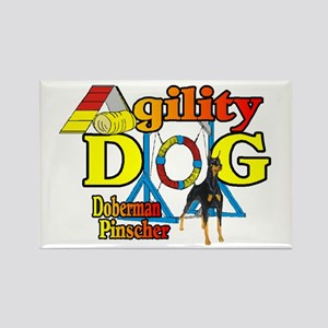 Doberman Agility Rectangle Magnet (10 pack)