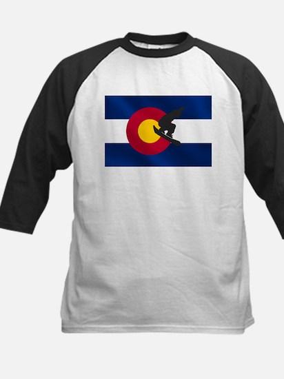 Colorado Snowboard Flag Kids Baseball Jersey