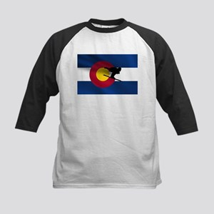 Colorado Skiing Flag Kids Baseball Jersey