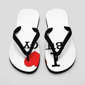 I Love BUDGY Flip Flops
