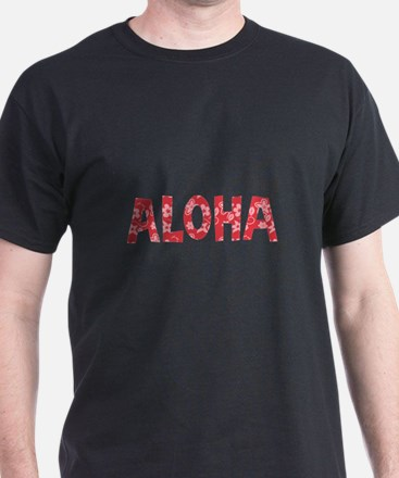 Aloha in Red and Pink Floral Pattern T-Shirt