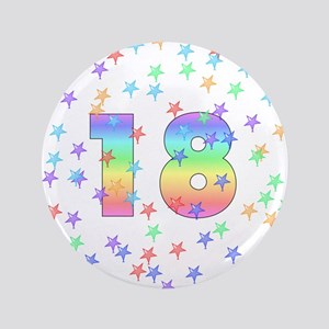 "18th Birthday Pastel Stars 3.5"" Button"