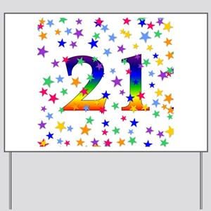 Rainbow Stars 21st Birthday Yard Sign