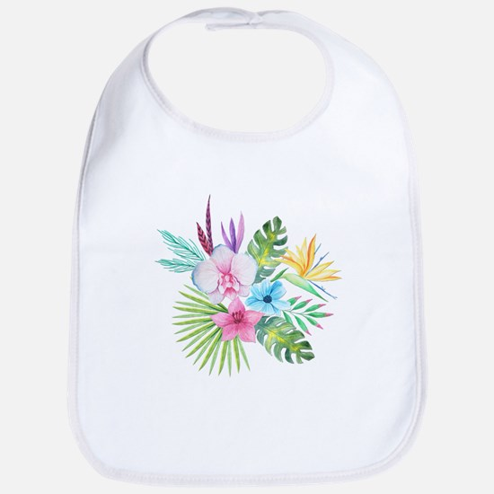 Watercolor Tropical Bouquet 3 Bib