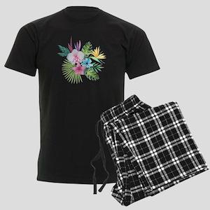 Watercolor Tropical Bouquet 3 Men's Dark Pajamas