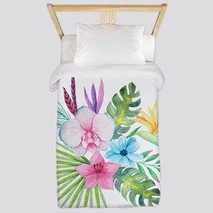 Watercolor Tropical Bouquet 3 Twin Duvet