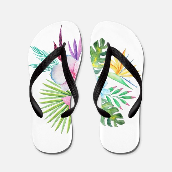 Watercolor Tropical Bouquet 3 Flip Flops
