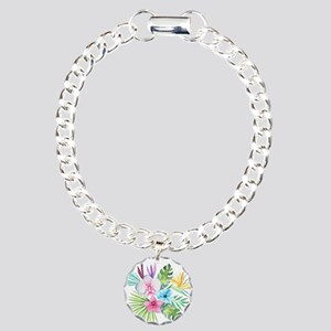 Watercolor Tropical Bouq Charm Bracelet, One Charm