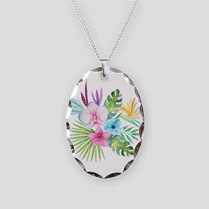 Watercolor Tropical Bouquet 3 Necklace Oval Charm