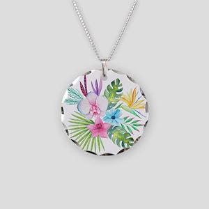 Watercolor Tropical Bouquet Necklace Circle Charm