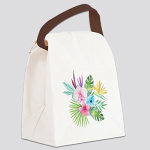 Watercolor Tropical Bouquet 3 Canvas Lunch Bag