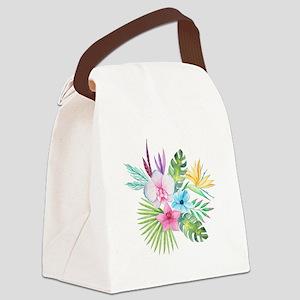 Watercolor Tropical Bouquet 3 Canvas Lunch Bag