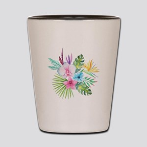 Watercolor Tropical Bouquet 3 Shot Glass
