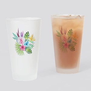 Watercolor Tropical Bouquet 3 Drinking Glass