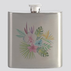 Watercolor Tropical Bouquet 3 Flask