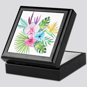 Watercolor Tropical Bouquet 3 Keepsake Box
