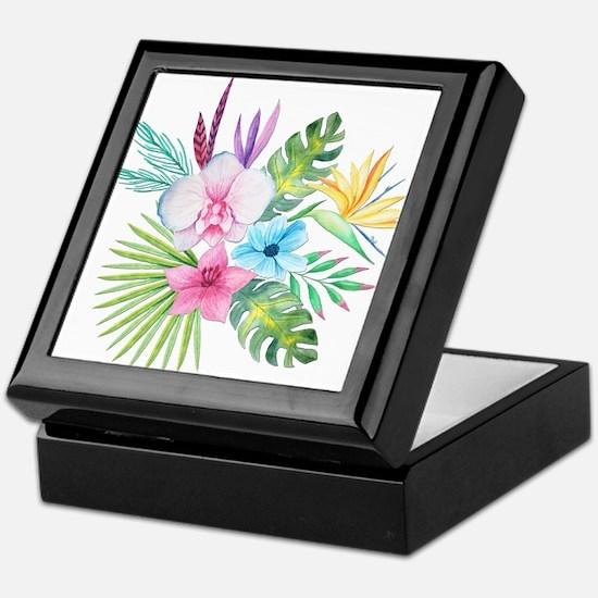 Watercolor Tropical Bouquet 3 Keepsake Box