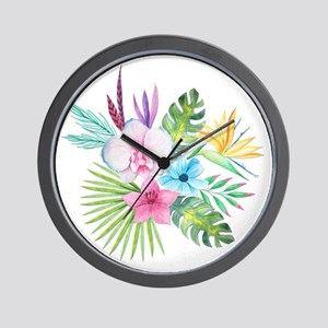 Watercolor Tropical Bouquet 3 Wall Clock