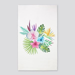 Watercolor Tropical Bouquet 3 Area Rug