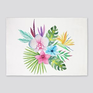 Watercolor Tropical Bouquet 3 5'x7'Area Rug