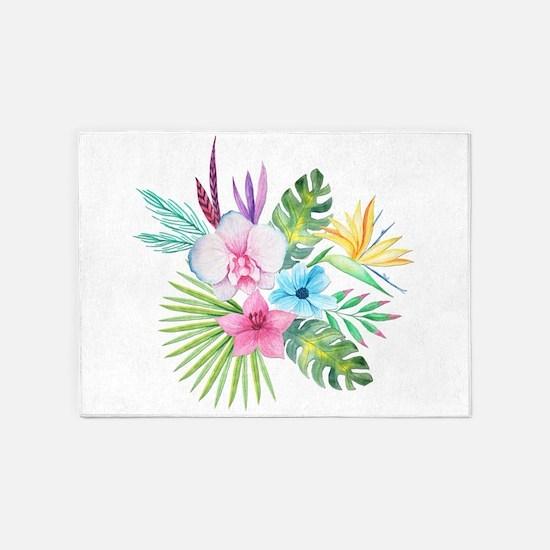 Watercolor Tropical Bouquet 3 5'x7'Area Rug