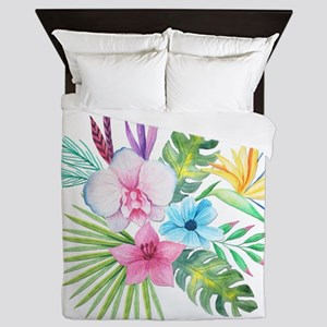 Watercolor Tropical Bouquet 3 Queen Duvet