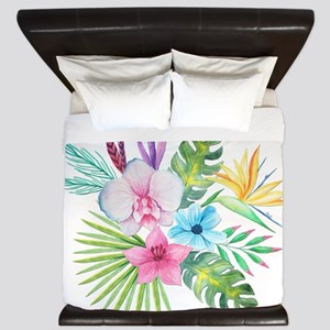 Watercolor Tropical Bouquet 3 King Duvet