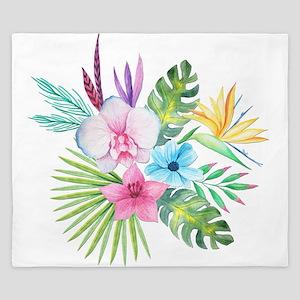Watercolor Tropical Bouquet 3 King Duvet