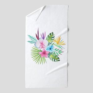 Watercolor Tropical Bouquet 3 Beach Towel