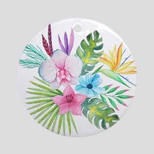 Watercolor Tropical Bouquet 3 Round Ornament