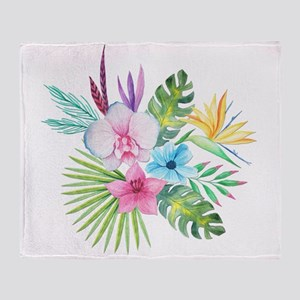 Watercolor Tropical Bouquet 3 Throw Blanket